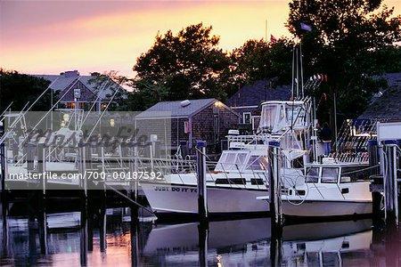 Boats in Harbour Nantucket Harbour Massachusetts USA