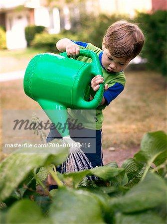 Boy Watering Plants Stock Photo