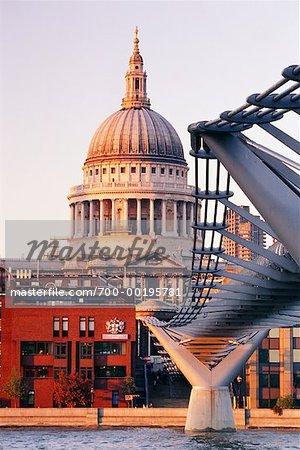 St Paul's Cathedral and Millennium Bridge London, England