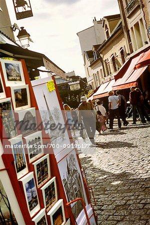 People Browsing Through Montmartre, Paris, France