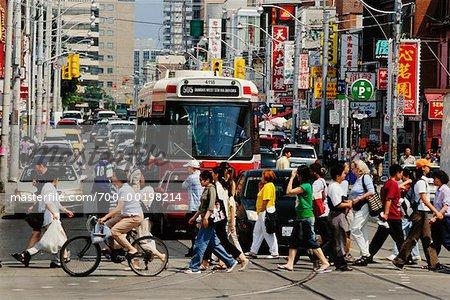 People Crossing at Intersection Toronto Ontario Canada