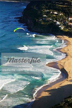 Parachuting from Bald Hill Lookout, Bald Hill Headland Reserve, Illawarra, Wollongong, New South Wales, Australia