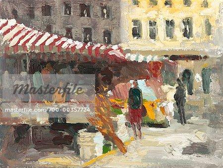 Illustration of Outdoor Market Vienna, Austria