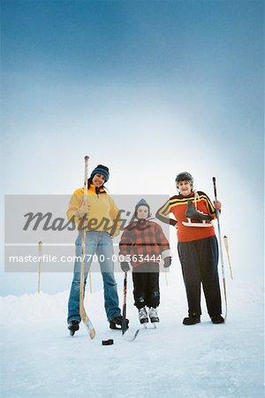 Three Generations Playing Hockey