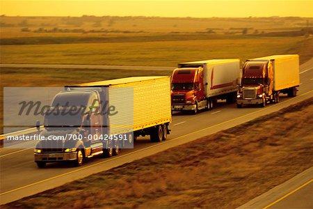 Transport Trucks on Highway