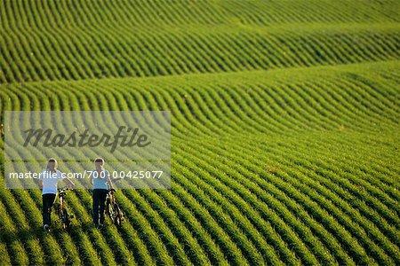 Two Girls Walking Bikes Through Wheat Field