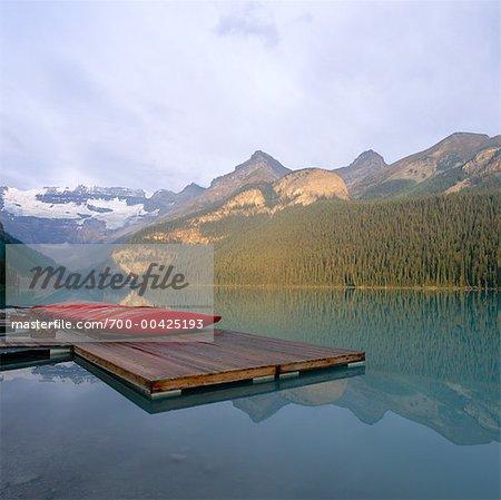 Boats on Dock, Lake Louise, Banff National Park, Alberta, Canada