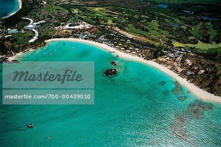 Aerial View of Blue Bay Beach Mauritius