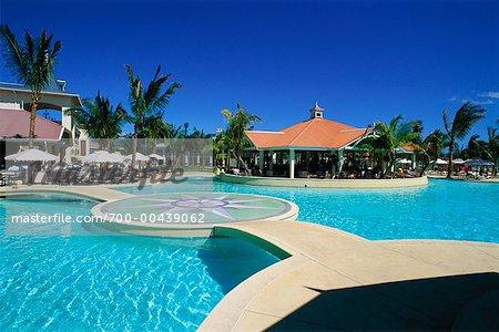 Swimming Pool At Sugar Beach Resort Mauritius Indian Ocean Stock Photo