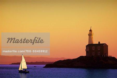 Fisgard Lighthouse at Sunset, Victoria, British Columbia, Canada