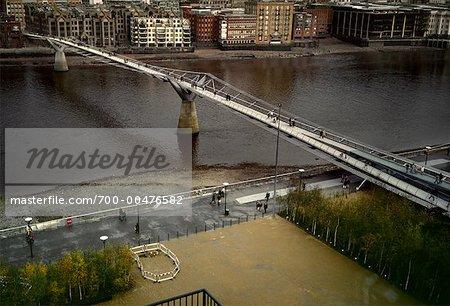 Millenium Bridge and Thames River, London, England