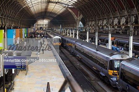 Platform at Paddington Station, London, England