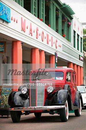 Vintage Car Outside the Masonic Hotel, Napier, Hawke's Bay, New Zealand