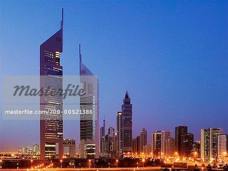 Emirates Towers and Dubai Skyline, Dubai, United Arab Emirates