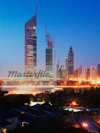 Emirates Towers and Dubai Skyline, United Arab Emirates