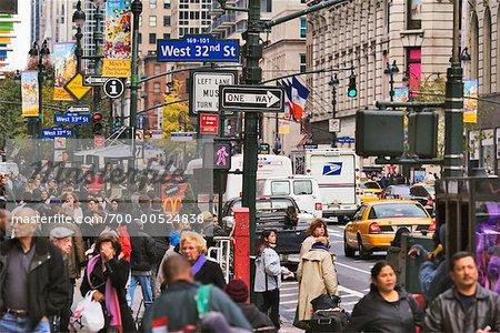Corner of West 32nd Street and Broadway, New York City, New York, USA