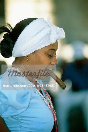 Woman Smoking Cigar, Havana, Cuba