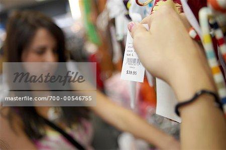 Women Shopping, Holding Price Tag