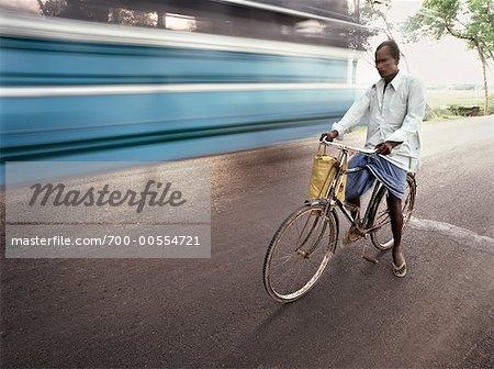 Man Riding Bicycle, Mumbai, India