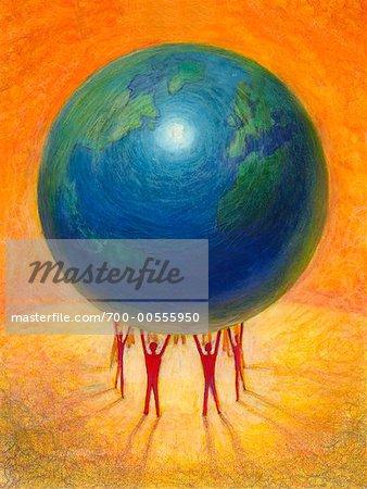 Illustration of People Lifting Globe