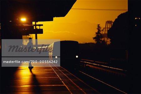 BART Train Arriving at Station, San Francisco Bay Area, California, USA