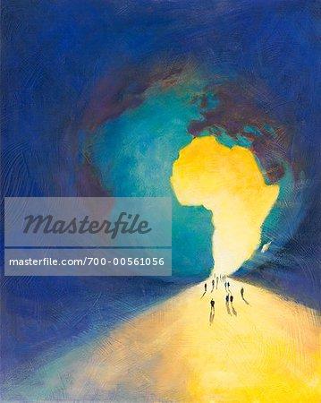 Illustration of People Walking Toward Globe