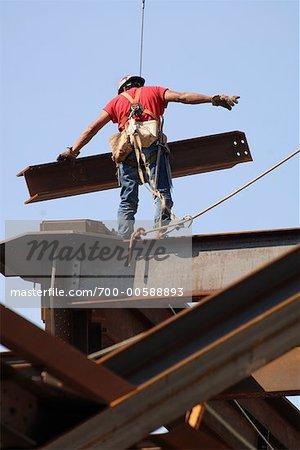 Steelworker Working on Building