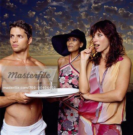 A Mature Woman Ogles Young Shirtless Waiter