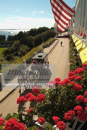 Horse-Drawn Carriage at Grand Hotel, Mackinac Island, Michigan, USA