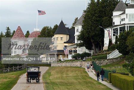 Houses on Mackinac Island, Michigan, USA