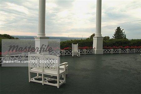 Chairs on Porch at Grand Hotel, Mackinac Island, Michigan, USA