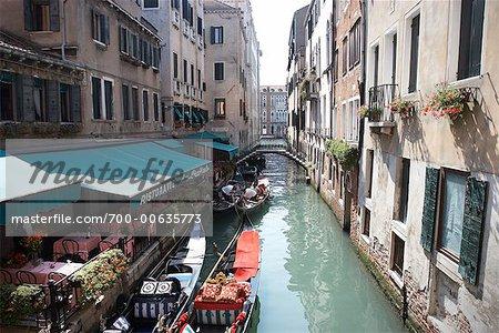 Restaurants Along Canal, Venice, italy