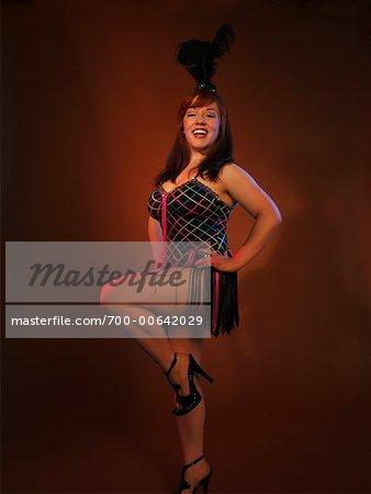 Woman Wearing Burlesque Costume