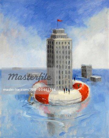 Building Floating On Life Preserver