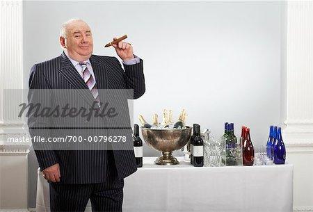 Portrait of Man Smoking Cigar