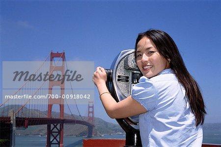 Woman Using Viewfinder, San Francisco, California, USA