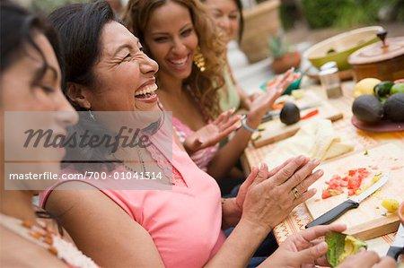 Women Preparing Food at Family Gathering