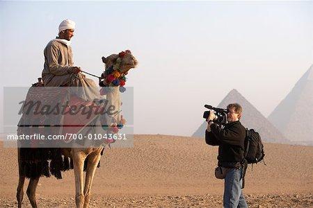Man Filming Camel Rider, Giza, Egypt