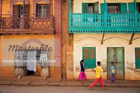 Children Walking in Street, Ambalavao, Madagascar