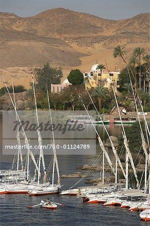 Sailboats on Nile River, Aswan, Egypt