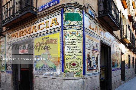 Pharmacy Exterior, Madrid, Spain   Stock Photo