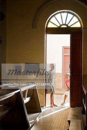Children in Church Doorway, Fianarantsoa, Madagascar
