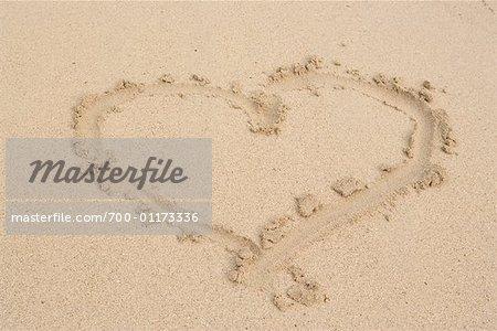 Heart Shape Drawing on Sand