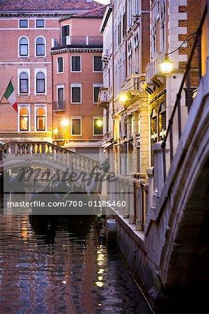 Gondolas on a Canal, Venice, Italy