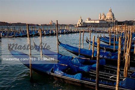 Gondolas and Santa Maria Della Salute Basilica, Venice, Italy