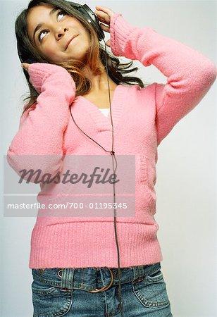 Portrait of Girl Using Headphones