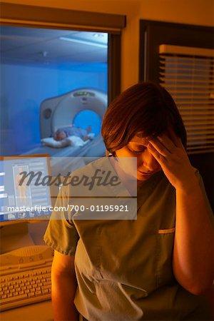 Technician with Headache