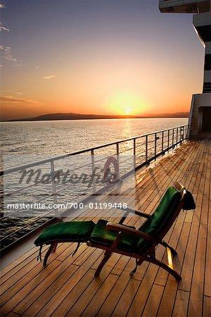 Cruise Ship Deck at Sunrise, Montego Bay, Jamaica