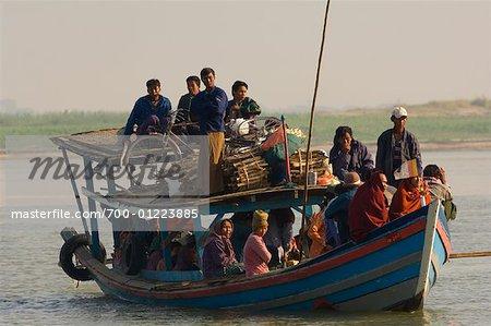 People on Boat Crossing Ayeyarwady River, Bagan, Myanmar