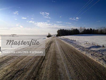 Snowy Road in Winter, Alberta, Canada